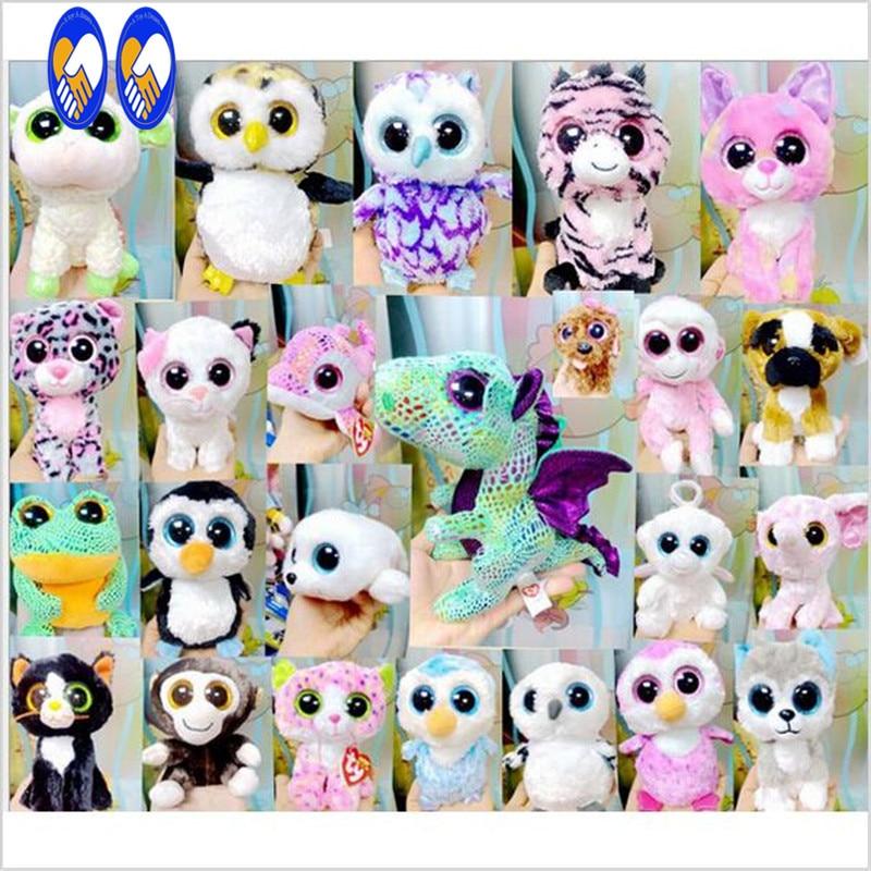 (A Toy A dream)Original Ty Beanie Boos Tess Tiger Plush Toy Boneca 6''15cm Big Eyed Stuffed Animals Kids Christmas Children Gift ty frizzy домовёнок tang 15 см 37138