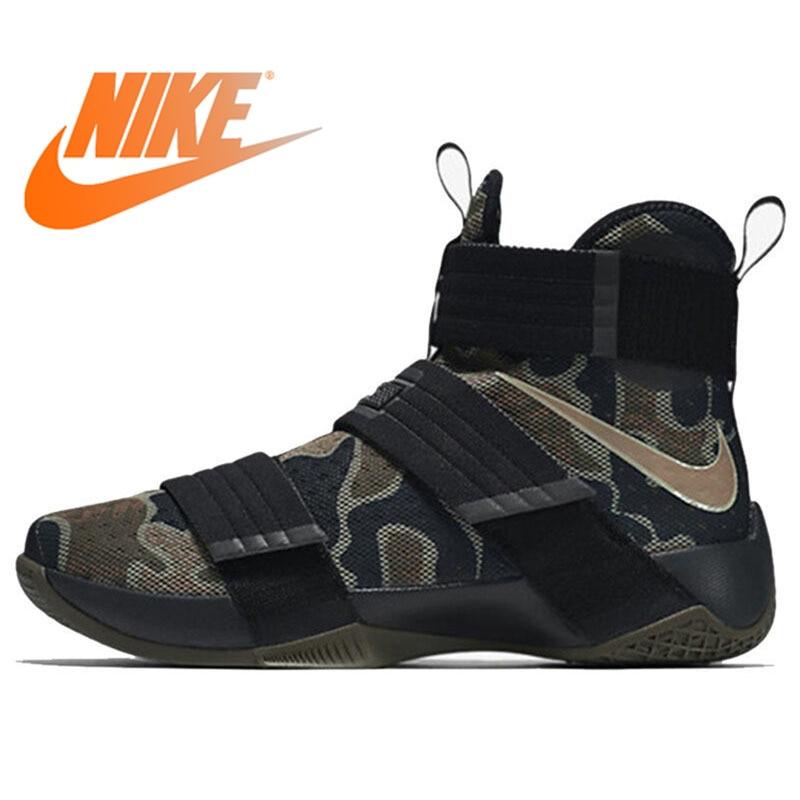 Original authentique NIKE Originals LEBRON soldat 10 hommes Cool chaussures de basket Camouflage baskets haute respirant Durable