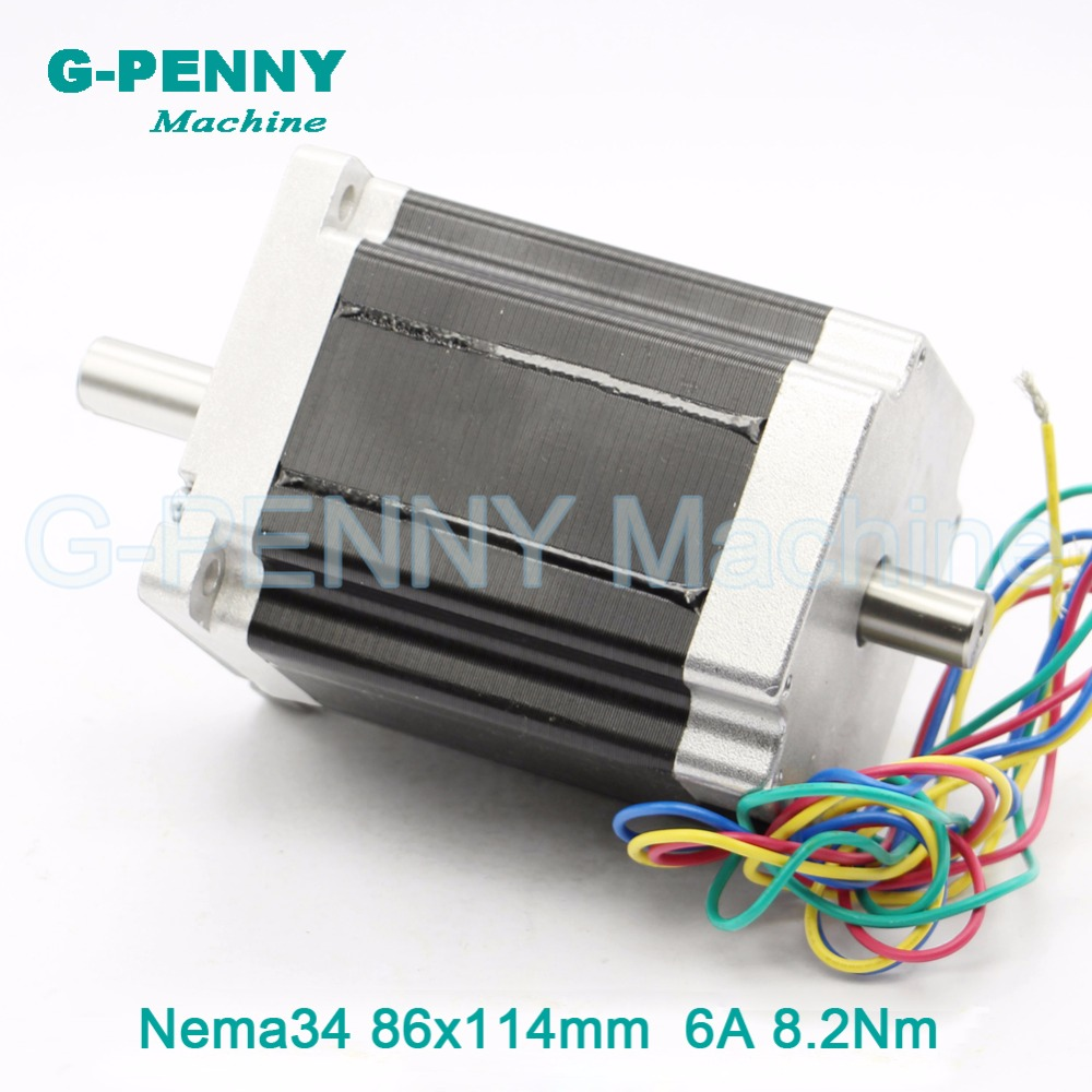 NEMA34 CNC stepper motor 86X114mm double shaft 14mm 8.2N.m 6A for cnc stepping motor 1172Oz-in for engraving machine 3D printer