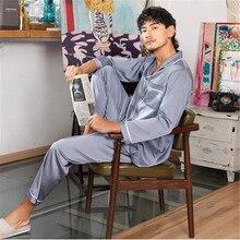 efeda7d575b7f1 Męska solidna Silk Pajama Set Smooth arystokracja piżama męska jedwabiu  piżamy męskie Sexy nowoczesny styl miękkie