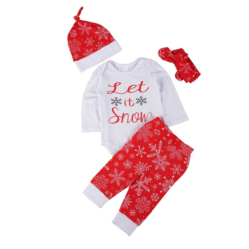 SummerInfant Newborn Baby Girls Bodysuit +Full Pants +Hat Outwear Suits Baby Christmas Outfits Clothes Set Gifts
