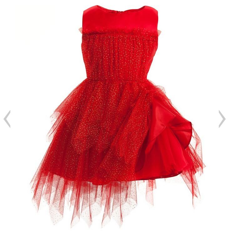 2016 New Girls Red Shiny Star Irregular Tulle Christmas Dresses ...