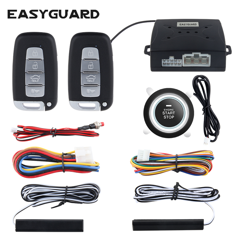 EASYGUARD Universal Quality Car security alarm system with PKE passive keyless entry remote engine start keyless go DC12V easyguard pke car alarm system remote engine start