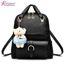 Новые модные женские туфли рюкзаки женские PU кожаные рюкзаки для девочек школьная сумка Высокое качество женские сумки дизайнер рюкзак симпатичный кулон