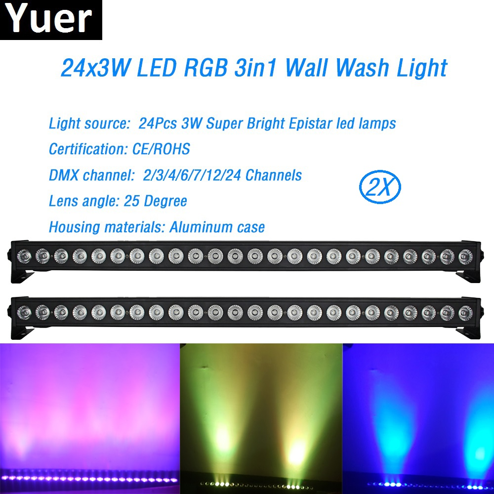 2pcs/lot Led Wall Washer Light 24x3w Rgb 3in1 Led Floodlight Bar Running Horse Effect Aluminum Case Stage Dj Disco Party Show Lights & Lighting Commercial Lighting