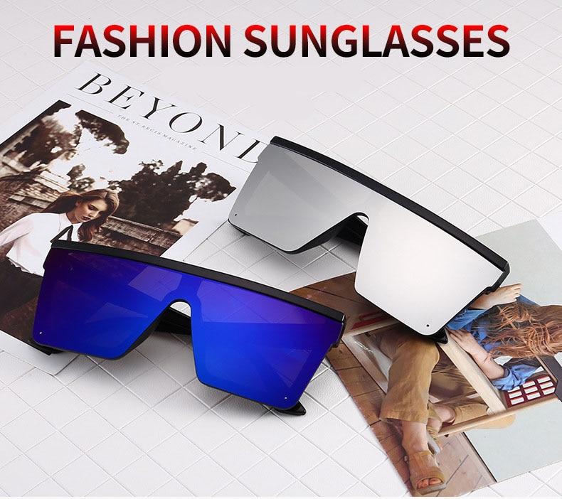 2019 New Oversized Sunglasses Women Big Frame Square Flat Top Rivet Sun Glasses Female Men Vintage Mirror Shades Gradient UV400