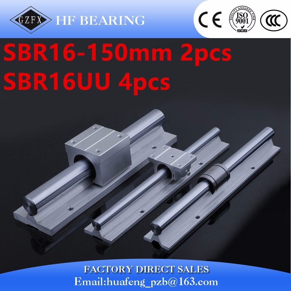 цены  Fast shipping  for SBR16 16mm linear guide set : 2pcs SBR16-L500mm linear guide+4pcs SBR16UU linear bearing block for CNC Parts