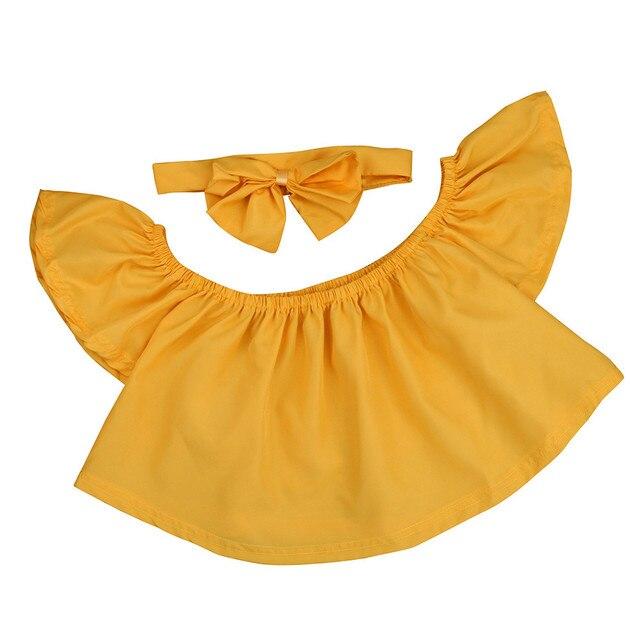 מקרית תינוקות כותנה חליפת תינוקת בנים להלביש סט פעוט ילדים מכתף לפרוע חולצה חולצות קיץ בגדי תלבושות