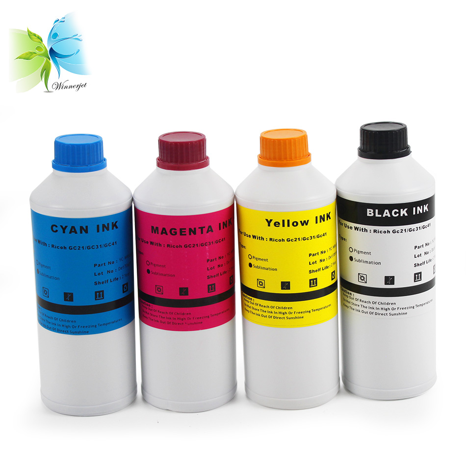 Winnerjet 1000ML/bottle WINNERJET 4 colors Pigment ink /sublimation For Ricoh SG3100, 3110, 7100 2100 2010 printer GC41