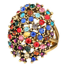 Hyperbole Vintage Micro-inlay Rhinestone Gold Rings for Women Geometric Carved Hollow Alloy Knuckle Rings  Anillos Mujer a suit of vintage alloy hollow out cuff rings for women
