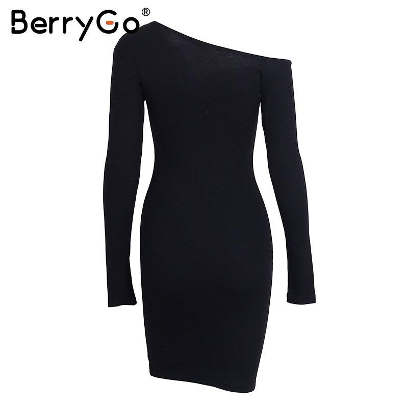 BerryGo Elegant off shoulder bodycon dress Long sleeve short evening party club white dress Women autumn winter black sexy dress 22