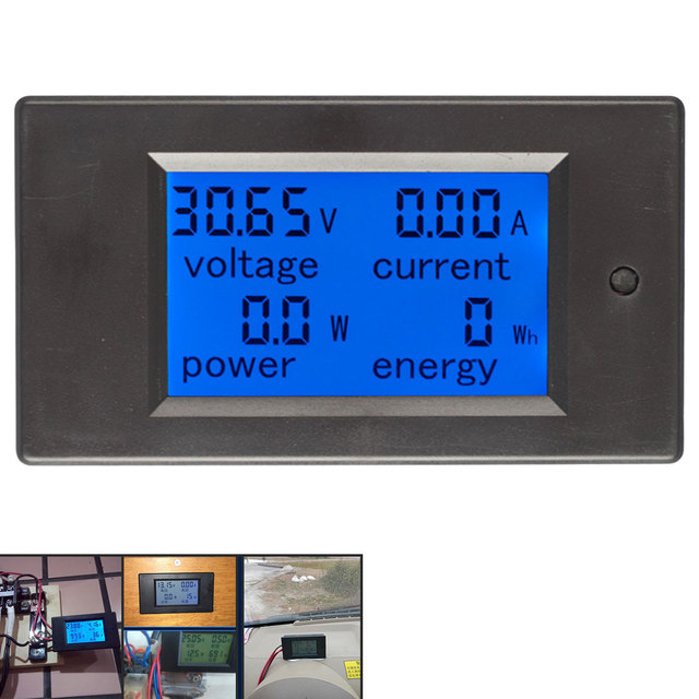 Dijital Akım Gerilim Güç Enerji Ölçer DC 6.5-100 V 0-100A lcd ekran Multimetre Ampermetre Voltmetre 100A akım şöntü