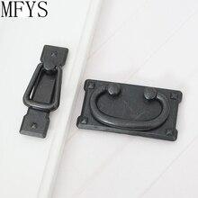 2.2 3 Vintage style Dresser Drawer Pull Handles Antique Black Square Door Cabinet Drop Bail Back Plate 57 76 mm