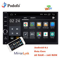 Podofo 2Din Android 8.1 Universal Car Audio Stereo Radio OctaCore RAM 2G ROM 16G WiFi GPS Navigation Video Head Unit Mirror Link