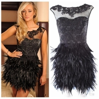 Black Lace Appliques Cocktail Dresses Feather Skirt Short Mini Sleeveless Formal Prom Dress 2019 Custom Vestidos De Soiree
