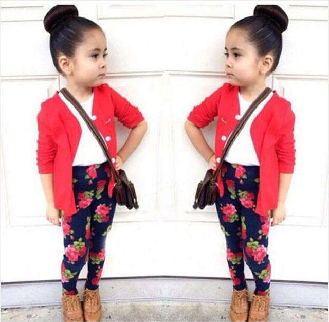 46249745d 2015 Autumn girls fashion clothes set girl jacket + shirt + flower pants  girls 3 piece clothing set kids clothes retail