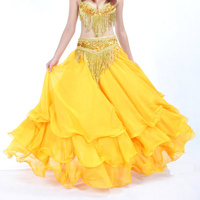 2018 High quality belly dance clothes baru Leafroll double slit ear chiffon Belly Dancing skirt for women belly dance costumes