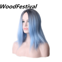 WoodFestival Straight Light Blue Black root Wig Heat Resistant Synthetic Short Wigs For Ladies Women