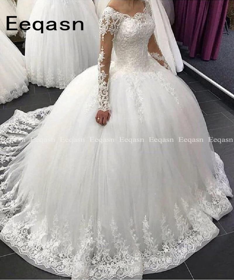 2020 Ball Gown Wedding Dresses Illusion Long Sleeves Lace Applique Floor Length Arabic Gown Bridal Dress Vestido De Noiva