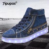 7ipupas Denim Luminous Shoe Unisex Spring Autumn High Top Lace Up Led Vintage Shoes Children Cowboy