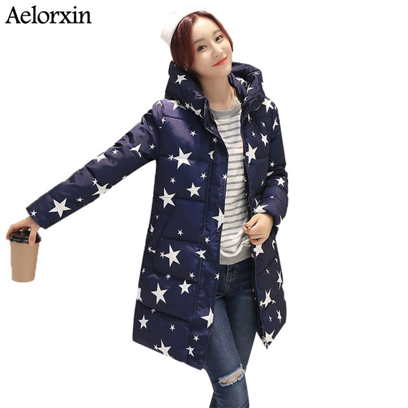 Zimní bunda dámský kabát vysoký výstřih Dámská bunda s kapucí s hvězdným potiskem Silný teplý zimní dámský kabát Parka Long Down