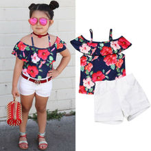 Cute Toddler Baby Kids Girl Off shoulder Rose Printed Top+White Shorts Outfit Clothes 2PCS