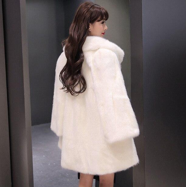 Կանայք Faux Fur Coat Jacket Ձմեռային մորթյա - Կանացի հագուստ - Լուսանկար 3