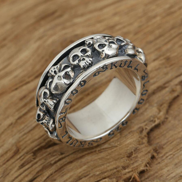 Scripture Personality Skull Ring Rotation Real Men 925 sterling