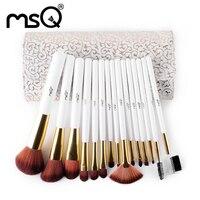 MSQ 15pcs Facail Makeup Brushes Sets Professional Eyeshadow Foundation Eyeliner Lip CosmeticMake Up Brushes Kit Beauty