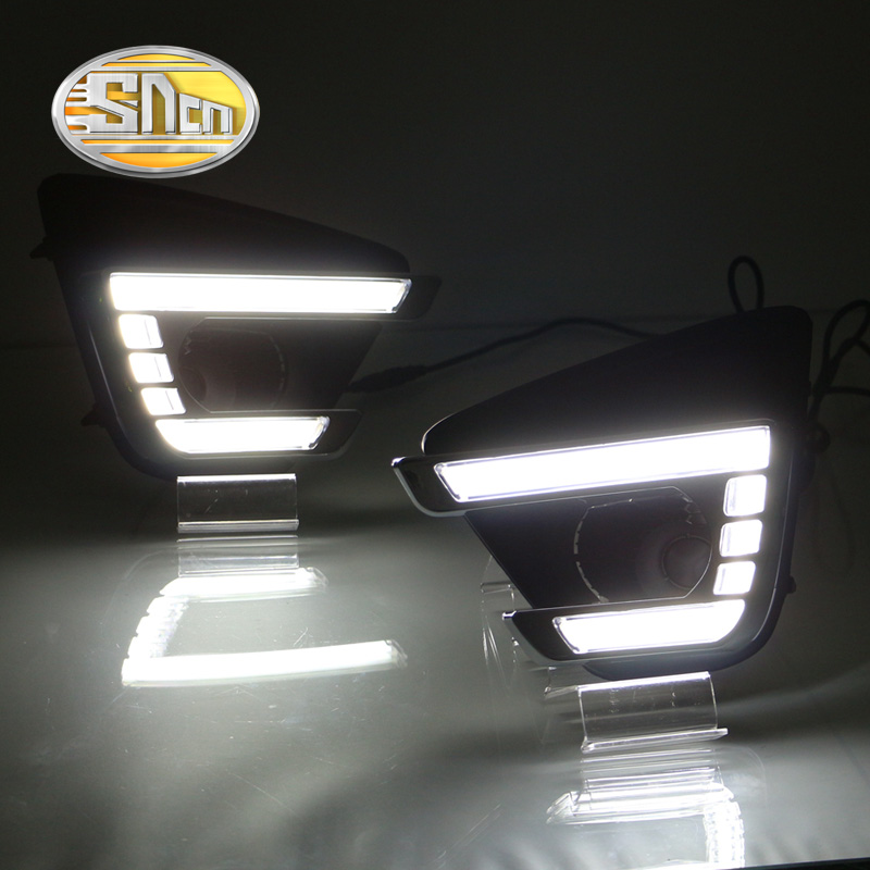 ФОТО For Mazda CX-5 CX5 2015 2016,With Yellow Turning Signal Function Waterproof Car DRL 12V LED Daytime Running Light Daylight SNCN