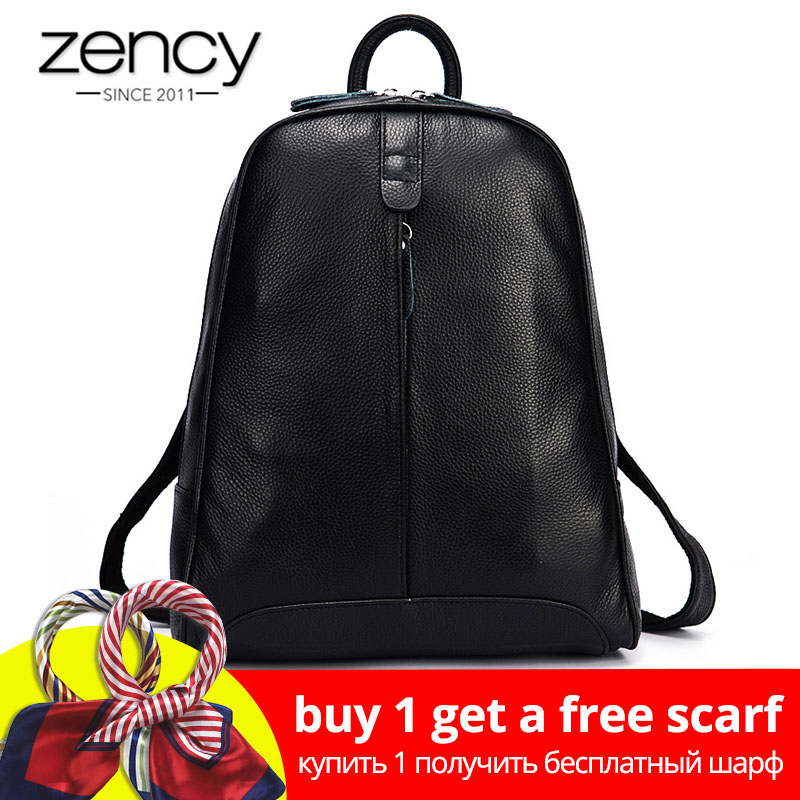 Zency 100% En Cuir Véritable Mode Femmes Sac À Dos Voyage Casual Bag Preppy Style Fille Cartable Ordinateur Portable Ordinateur Portable Sac À Dos