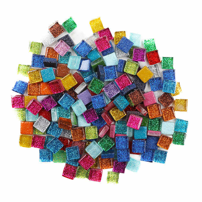 500 г 1 см Стразы разных цветов DIY мозаика ремесла блестящие красивые цветные стеклянные Квадратные прозрачные мозаичные детские игрушки