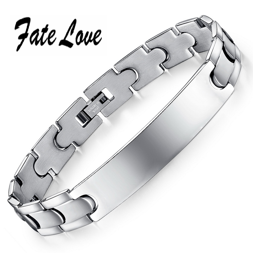 Fate Love Personal Engraved Classic Men's ID Bracelet 316L Stainless Steel Bracelets For Men Never Rust Top Quality FL761G