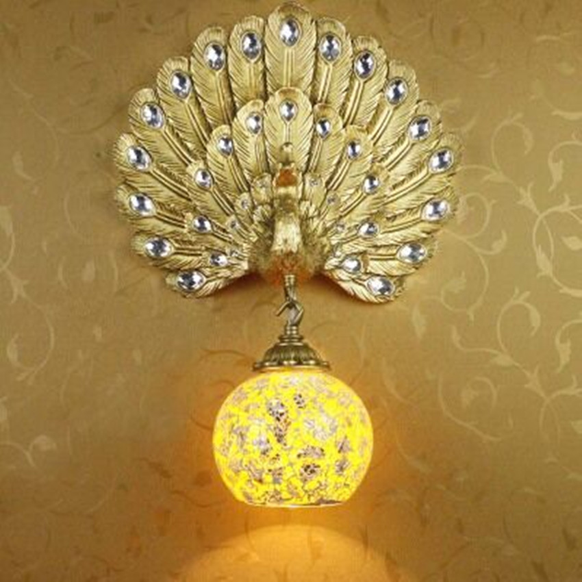 Southeast Asia creative peacock wall lamp European study bedside stairs living room aisle TV wall crystal wall lamps 220V led lamps wall lamp led lamps handicraft southeast asia amorous feelings vintage wooden bergamot wall lamp sconce home lighting
