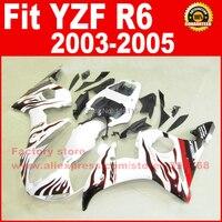 Road/race body bộ phận tạo kit đối VỚI YAMAHA R6 2003 2004 2005 YZF R6 03 04 05 YZFR 600 màu trắng với ngọn lửa màu đỏ fairing thân xe phần