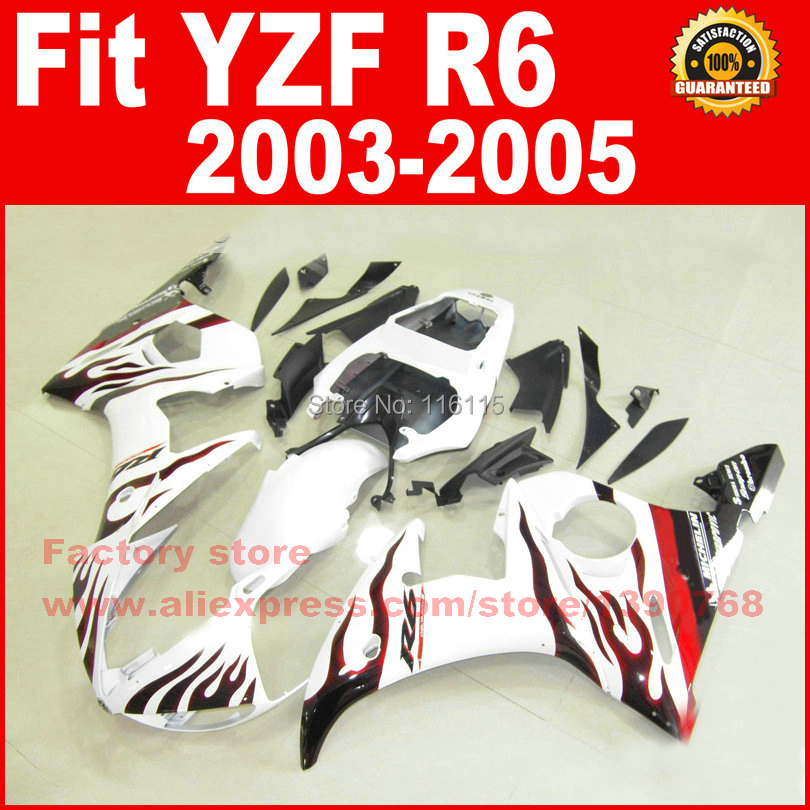 Road/race body fairings kit for YAMAHA R6 2003 2004 2005 YZF R6 03 04 05 YZFR 600 white with red flame fairing bodywork part road race motorcycle fairings kit for yamaha r6 2003 2004 2005 yzf r6 03 04 05 black silver fairing kits bodywork part
