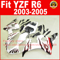 Road/race body fairings kit for YAMAHA R6 2003 2004 2005 YZF R6 03 04 05 YZFR 600 white with red flame fairing bodywork part