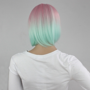 Image 4 - Yiyaobess 스트레이트 라이트 핑크 그린 ombre 짧은 밥 가발 bangs 합성 머리 코스프레 의상 여성 가발 파티 25cm