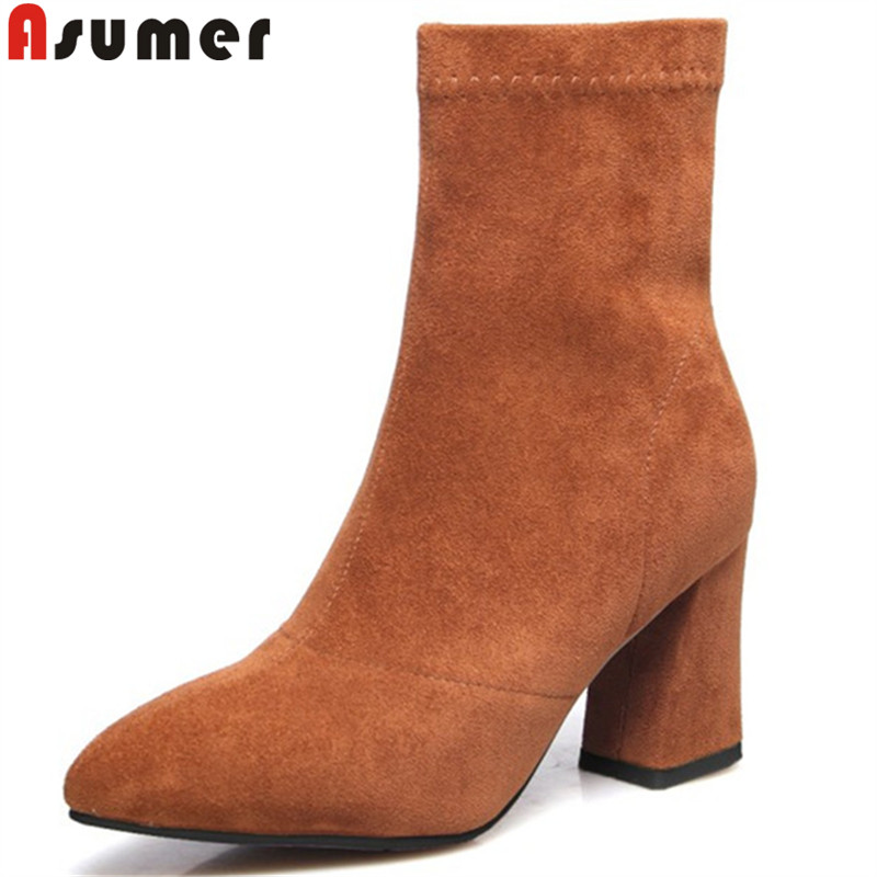ASUMER 2018 fashion autumn winter boots women pointed toe ankle boots zip ladies prom suede leather boots thick high heels boots asumer black fashion autumn winter boots women pointed toe zip genuine leather boots thick high heels ankle boots big size 33 43