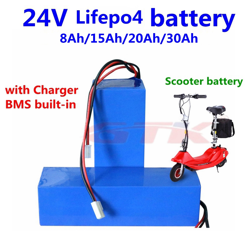 GTK Lifepo4 24V 8Ah 15Ah 20Ah 30Ah lithium battery with BMS for 250w 500w ebike scooter skateboard backup power+ Charger
