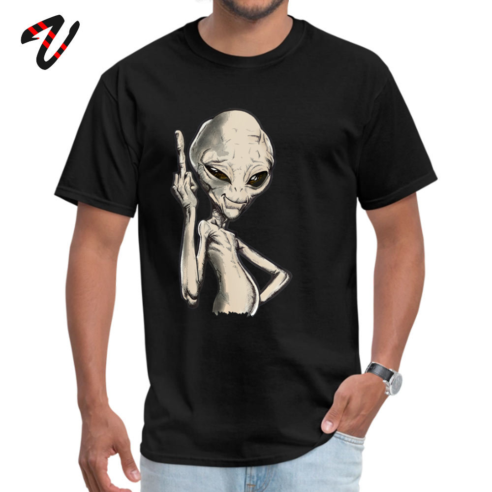 Paul the Alien Tops T Shirt Prevalent O Neck Simple Style Short Sleeve All Cotton Student T-Shirt Funny Tee-Shirt Paul the Alien -2324 black