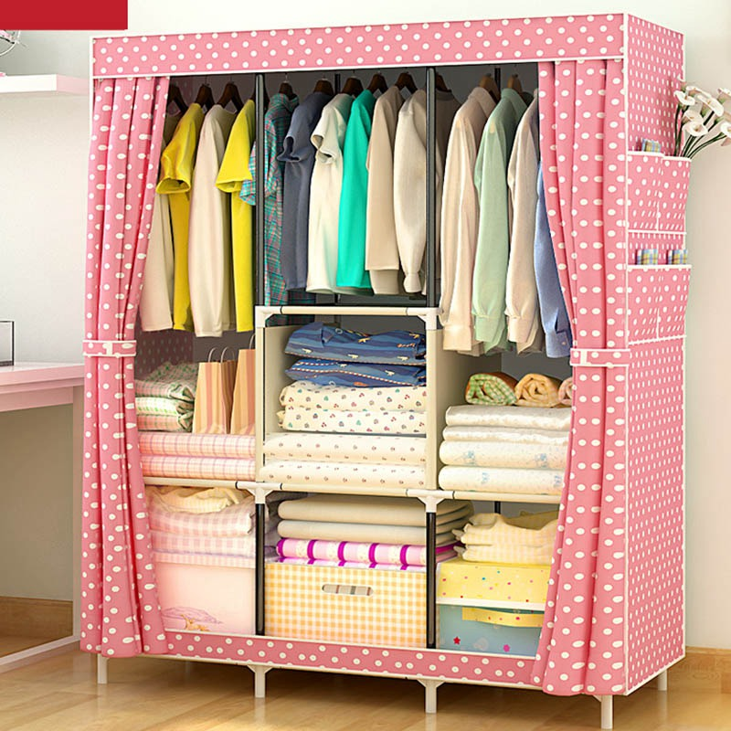 Hot Furniture Wardrobe Closet Home Storage Closet Wardrobe DIY Non-Woven Folding Portable Storage Cabinet Large Simple Wardrobe simple fashion moistureproof sealing thick oxford fabric cloth wardrobe rustproof steel pipe closet 133d
