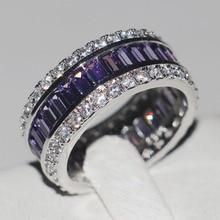 Victoria Wieck Completo 15ct Amatista Cz diamante Simulado Mujeres Engagement Wedding Band Anillo de Plata de ley 925 de Joyería de moda