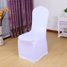 25 50 100 pcs Universal White Stretch Spandex Chair Cover Lycra Polyester Fabric Wedding Banquet Party Hotel Dining Chair Covers(China)