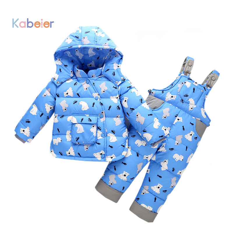 Baby Girl Boy Clothes Sets Winter Warm Cartoon Bear Hooded Newborn Infant Snow Jacket + Pants Children Costume Suit  1 2 3 Years