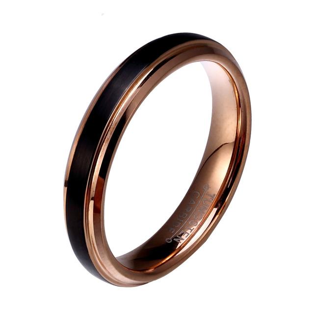 1 Pair Tungsten  Black & Rose Gold Rings