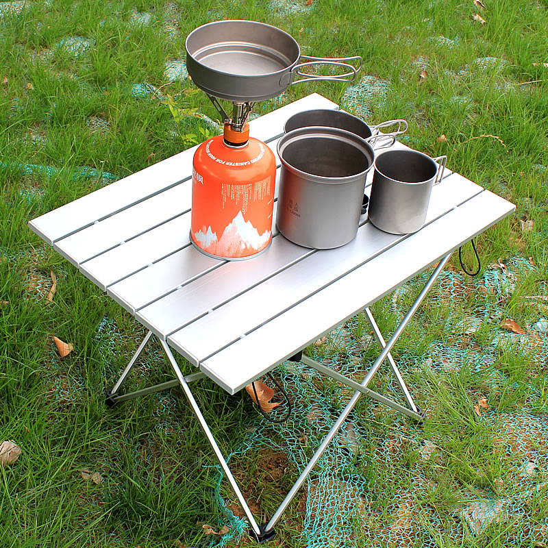 Aluminum Alloy Silver Lightweight Outdoor Compact Table With Carrying Bag For Outdoor Camping Hiking Picnic