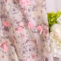 Fabric 3D flower embroidered chiffon for Handmade Sewing Material DIY craft skirt dress party wedding birthday decroation