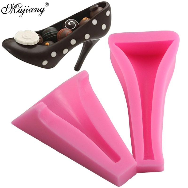 3D Silicone Stiletto High Heel Mould Lady Shoe Mold for Wedding Fondant Cake Dec