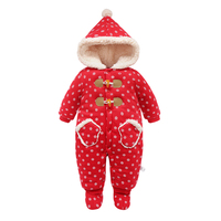 Kids Winter Overalls For Girls Christmas 2017Newborn Clothes Infant Cartoon Baby Boys Hooded Rompers Warm Cotton